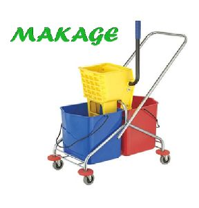 Side Press Double Bucket Wringer Trolley