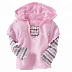 Baby girls t shirt with striped doctor sleeves