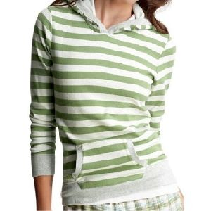 WOMES STRIPED PULLOVER HOODY