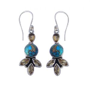 925 STERLING SILVER CITRINE and TURQUOISE HANDMADE WOMEN'S DANGLE EARRING