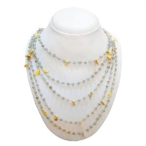 925 STERLING SILVER GOLD PLATED LABRADORITE BEADS WOMEN NECKLACE