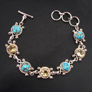 925 STERLING SILVER HAND CRAFTED CITRINE and TURQUOISE BRACELET