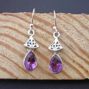 925 STERLING SILVER HAND CRAFTED INDIAN AMETHYST DANGLE WOMEN EARRING