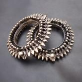 PAIR OF SOLID OLD SILVER VINTAGE LOOK TRIBAL GYPSY BANGLE