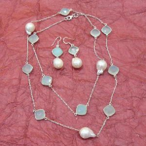 PEARL and AQUA CHALCEDONY 925 STERLING SILVER NECKLACE