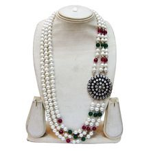 silver beaded jewelries necklace