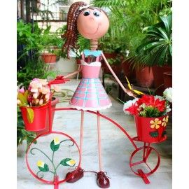 Big Girl Red bicycle Two pots Metal planters