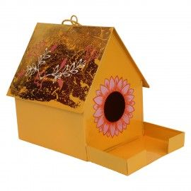 Bird House with Feeder Rope in Yellow(Home Decor, Gifting)