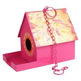 Bird House With Feeder With Rope in Pink