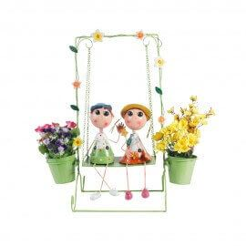 Boy & Girl on Swing doll with two pots