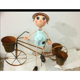 BOY ON BIKE WITH Three POTS Metal Planter for Home