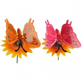 Pack of 2 Plastic Butterfly with 24 Inches metal stick