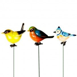 Pack of 3 Plastic Bird with 24 Inches metal stick