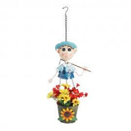 Metal Hanging Boy with spade 30 inches Pot