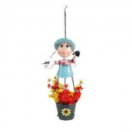 Metal Hanging Girl with spade 30 inches pots