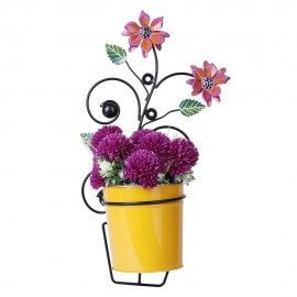 Pink Floral Wall Planter with Yellow Pot