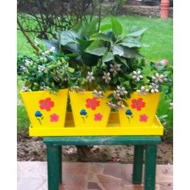 Square herb planter set with tray in Yellow