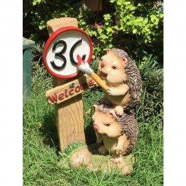 Two Hedgehog with Road Kms Garden Ornament / decor