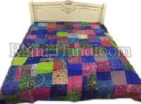 Silk Patch Work Kantha Bed Cover