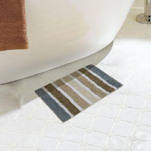 Cotton Grey & Beige Striped Bath Mat 01