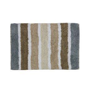 Cotton Grey & Beige Striped Bath Mat 02