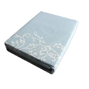 Cyan Floral Design Cotton Double Bed Sheet Set 01