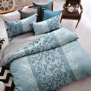 Cyan Floral Design Cotton Double Bed Sheet Set 03
