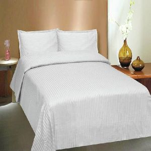 Pure White Self Design Cotton Double Bed Sheet Set 01
