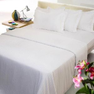 Pure White Self Design Cotton Double Bed Sheet Set 02
