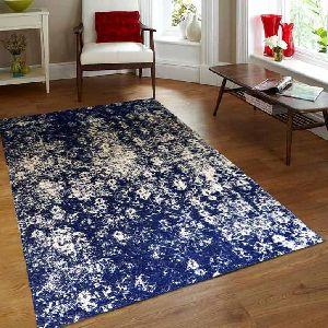 Tapestry Blue Floral Vintage Polyester Carpet 01