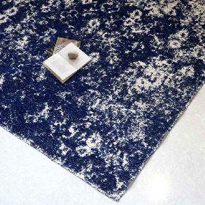 Tapestry Blue Floral Vintage Polyester Carpet 02