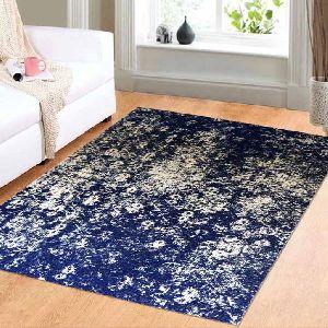 Tapestry Blue Floral Vintage Polyester Carpet 04