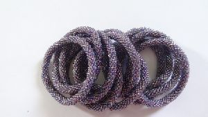 Purple shaded Glass Beaded Roll Bracelets