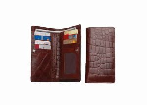 Brown color crocodile print genuine leather ladies wallet
