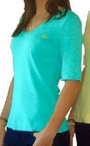 Ladies Turquoise Green Cotton T-Shirts