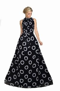 Georgette fabric print work gown