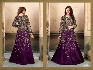 Silk fabric Embroidery work Anarkali Suit