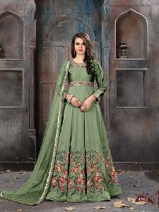 silk fabric Embroidery work Anarkali Suits