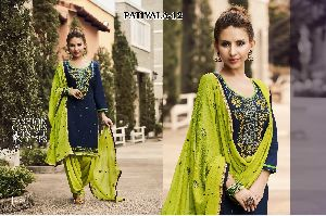 12 Cotton Embroidered Patiala Suit