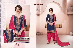 14 Cotton Embroidered Patiala Suit