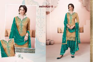 15 Cotton Embroidered Patiala Suit