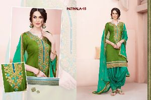 16 Cotton Embroidered Patiala Suit