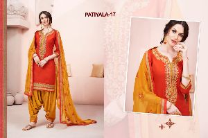 17 Cotton Embroidered Patiala Suit