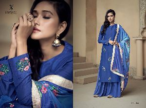 1802 Amyra Embroidered Silk Palazzo Suit