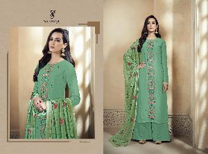 1803 Amyra Embroidered Silk Palazzo Suit