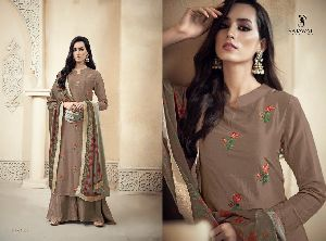 1805 Amyra Embroidered Silk Palazzo Suit