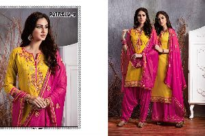 2 Cotton Embroidered Patiala Suit