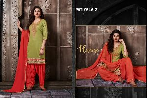 21 Cotton Embroidered Patiala Suit