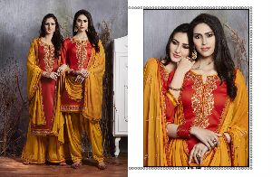 3802 Cotton Embroidered Patiala Suit