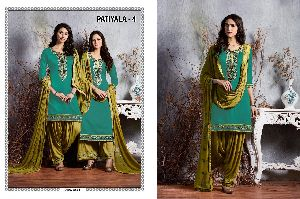 4 Cotton Embroidered Patiala Suit